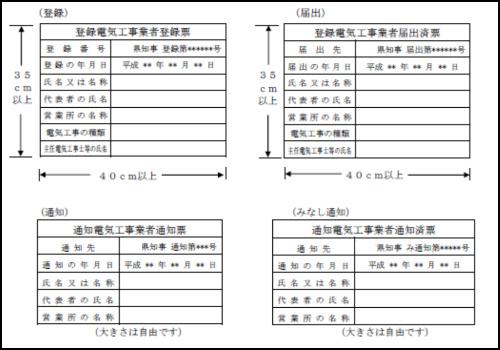 電気工事業登録 登録票 標識